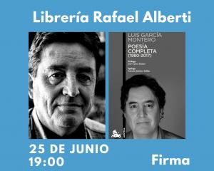 Anuncio de a firma de Luis García Montero en librería Alberti
