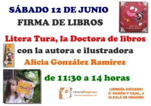 """Firma del libro """"Litera Tura, la doctora de libros"""" Diógenes"""